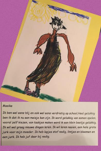 Tekening en tekst uit Maaike haar rapport